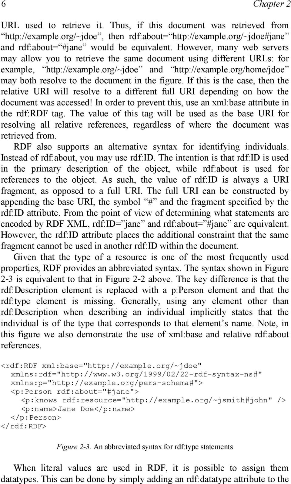 org/home/jdoe may both resolve to the document in the figure. If this is the case, then the relative URI will resolve to a different full URI depending on how the document was accessed!