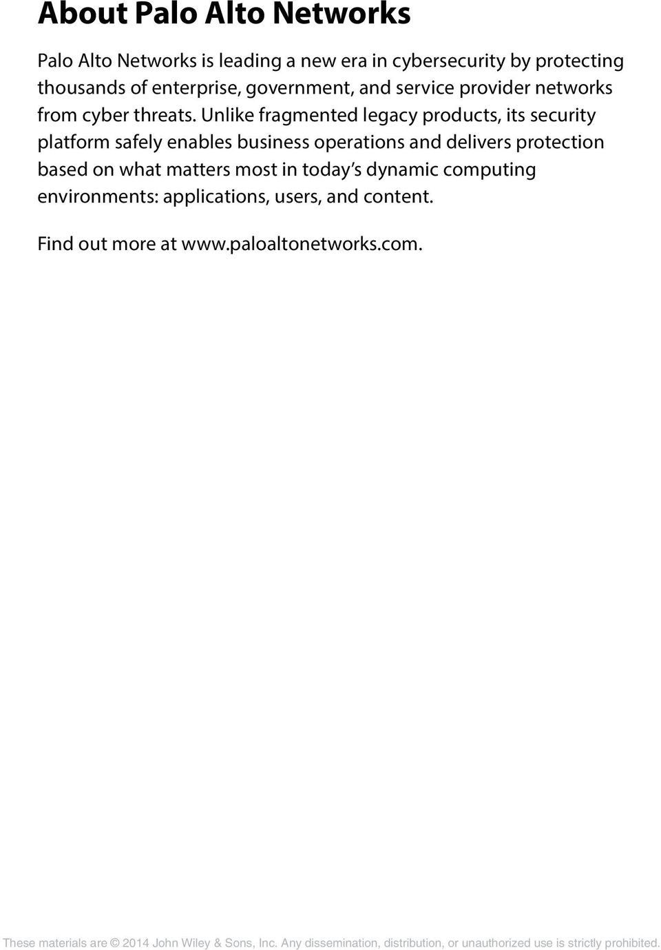 About Palo Alto Networks - PDF