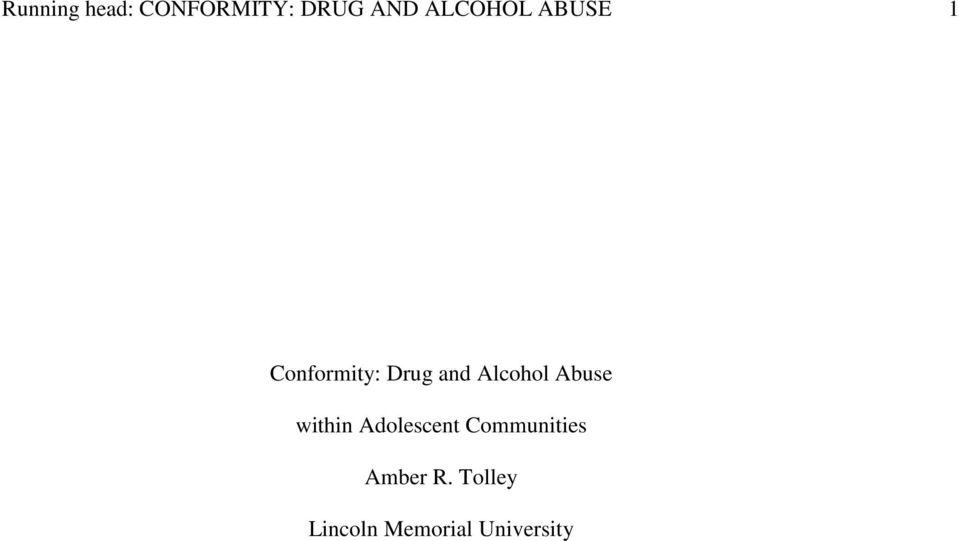 Alcohol Abuse within Adolescent