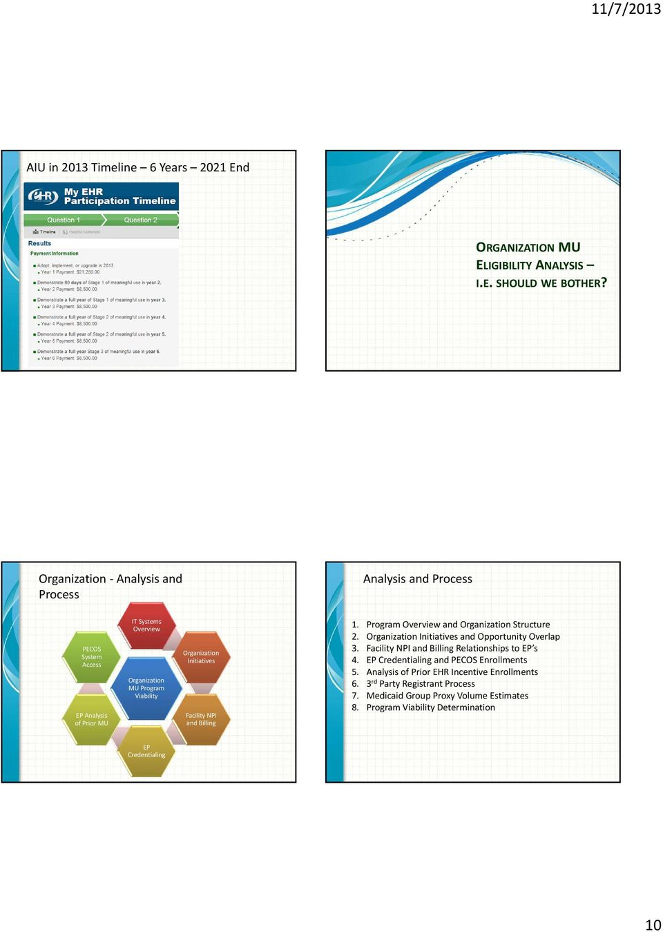 Initiatives Facility NPI and Billing 1. Program Overview and Organization Structure 2. Organization Initiatives and Opportunity Overlap 3.