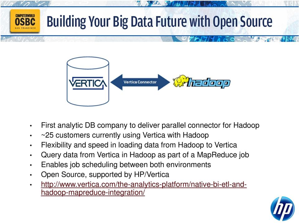 Hadoop as part of a MapReduce job Enables job scheduling between both environments Open Source,