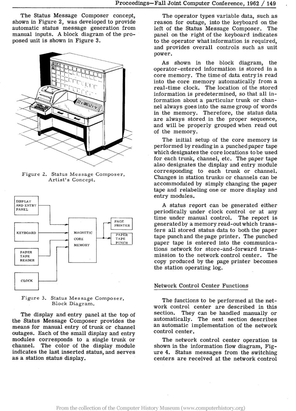 DISPLAY AND ENTR:' f---- PANEL KEYBOARD PAPER TAPE READER f---- --- MAGNETIC CORE MEMORY ~ PAGE PRINTER I PAPER TAPE PUNCH The operator types variable data, such as reason for outage, into the