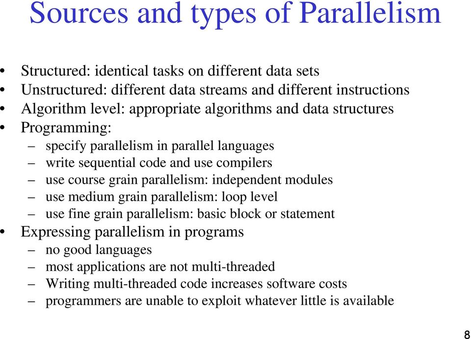parallelism: independent modules use medium grain parallelism: loop level use fine grain parallelism: basic block or statement Expressing parallelism in programs no