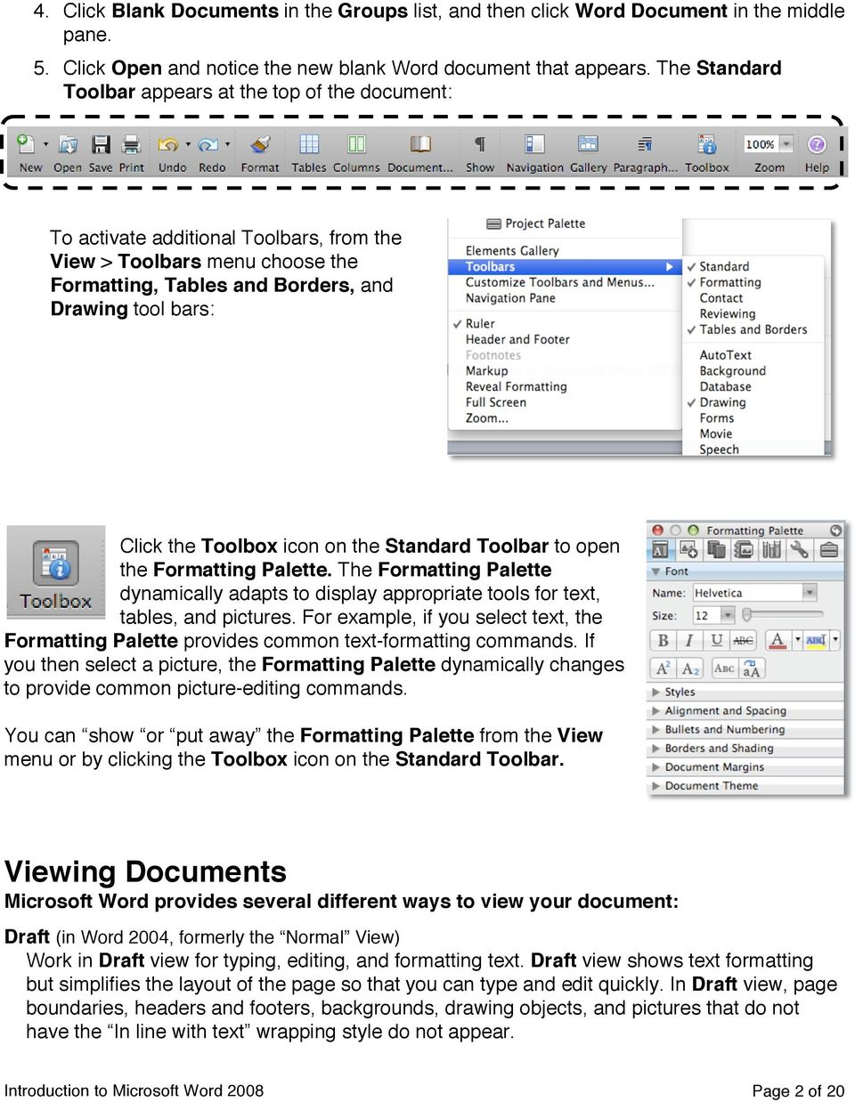 Toolbox icon on the Standard Toolbar to open the Formatting Palette. The Formatting Palette dynamically adapts to display appropriate tools for text, tables, and pictures.