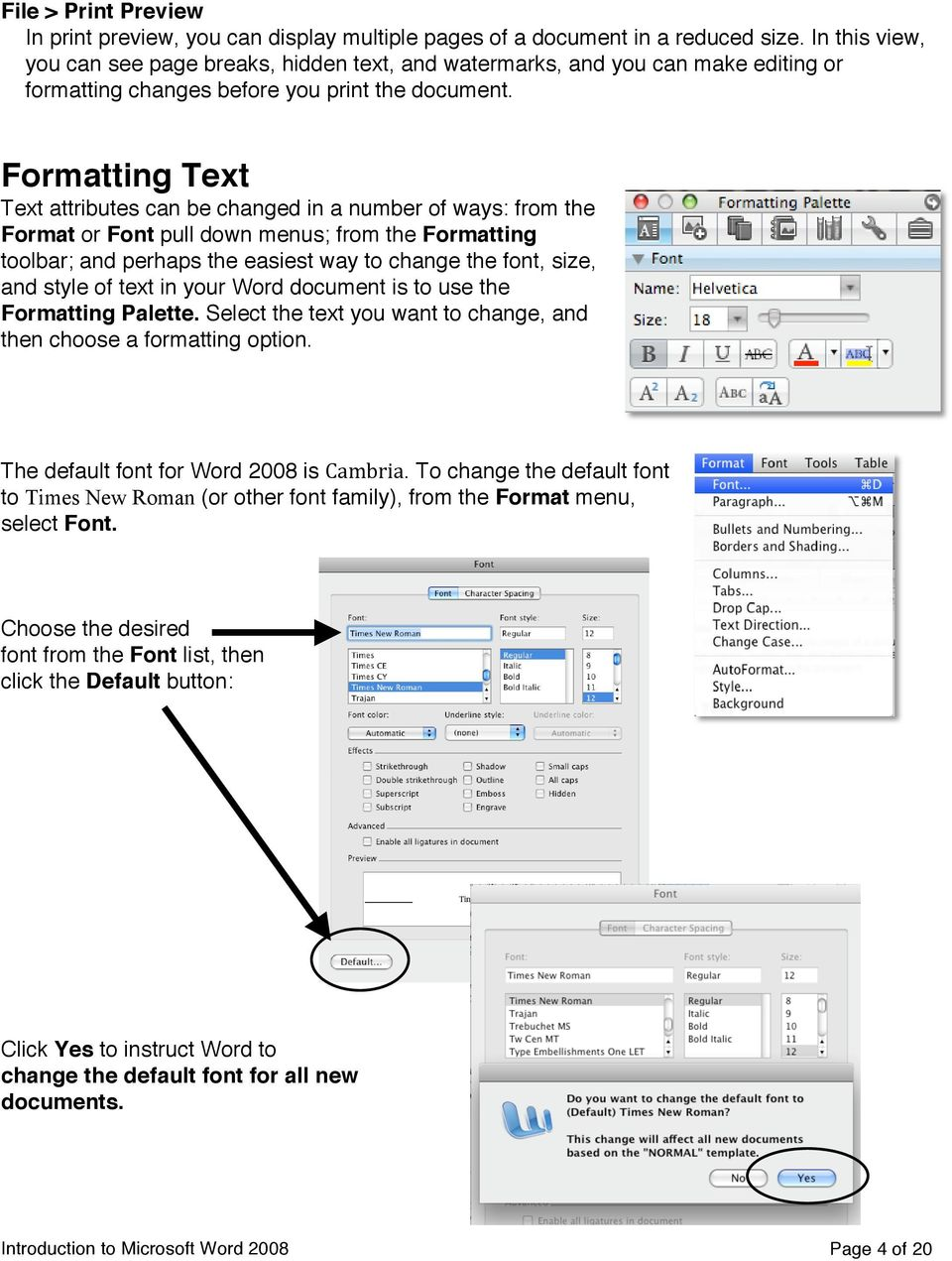 Formatting Text Text attributes can be changed in a number of ways: from the Format or Font pull down menus; from the Formatting toolbar; and perhaps the easiest way to change the font, size, and