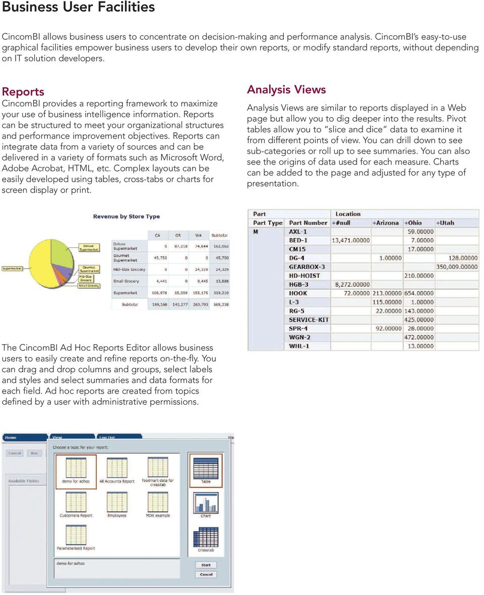 Reports CincomBI provides a reporting framework to maximize your use of business intelligence information.