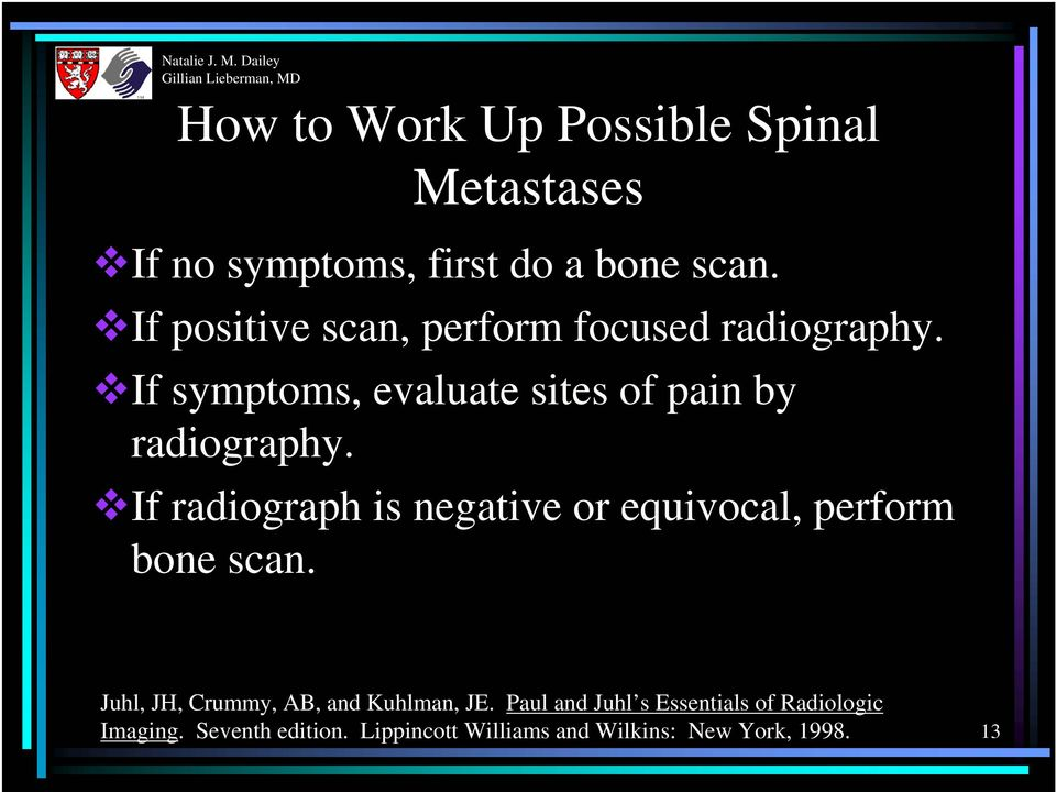 If radiograph is negative or equivocal, perform bone scan. Juhl, JH, Crummy, AB, and Kuhlman, JE.