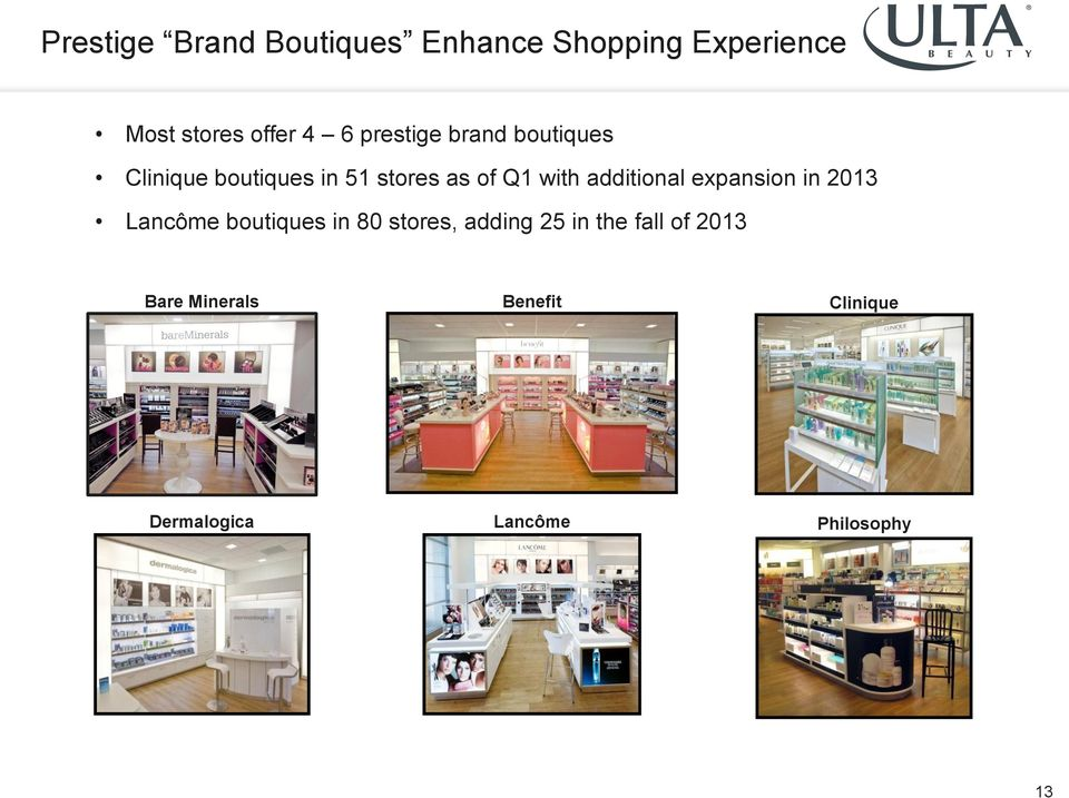 additional expansion in 2013 Lancôme boutiques in 80 stores, adding 25 in