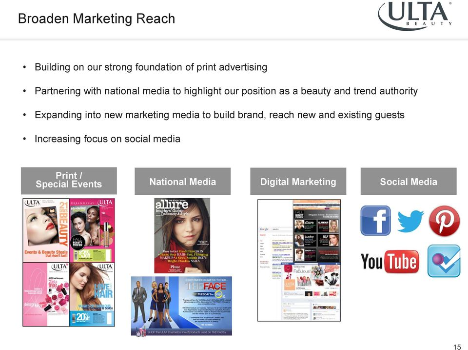 Expanding into new marketing media to build brand, reach new and existing guests