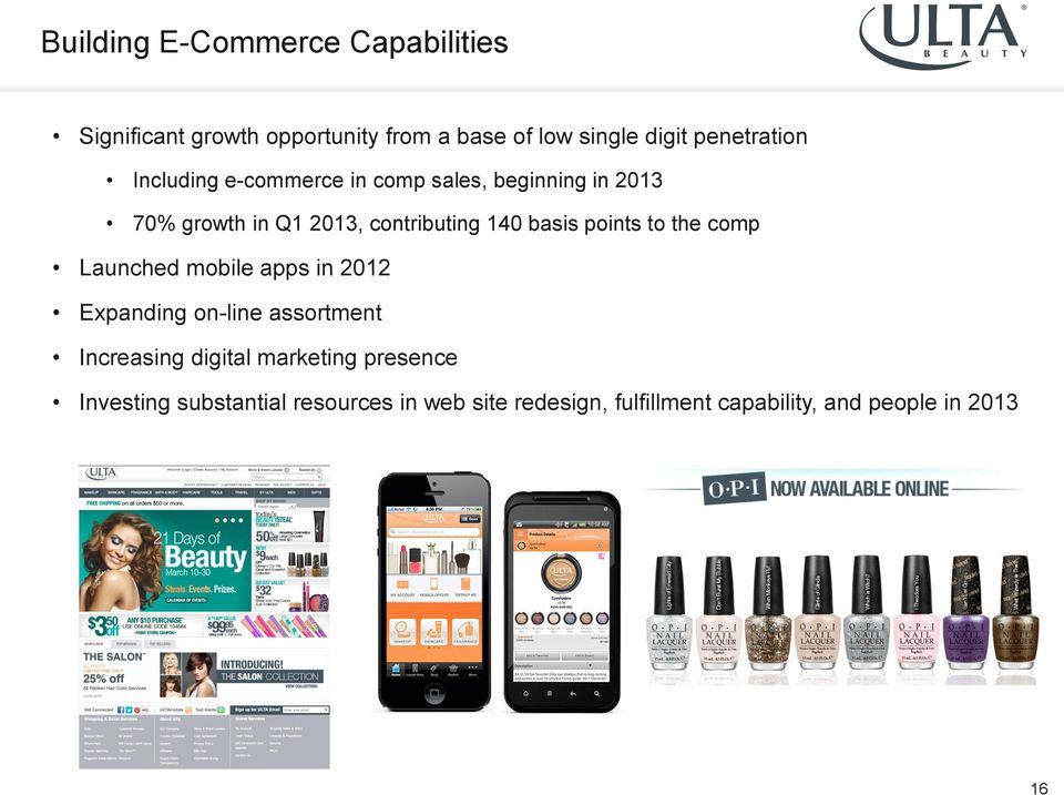 basis points to the comp Launched mobile apps in 2012 Expanding on-line assortment Increasing digital
