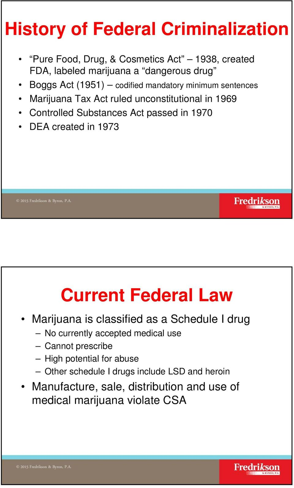 DEA created in 1973 Current Federal Law Marijuana is classified as a Schedule I drug No currently accepted medical use Cannot prescribe