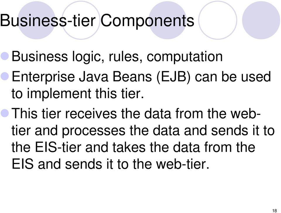 This tier receives the data from the webtier and processes the data and