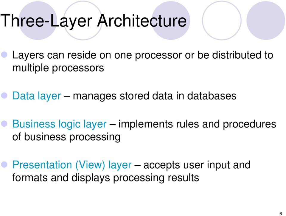 logic layer implements rules and procedures of business processing