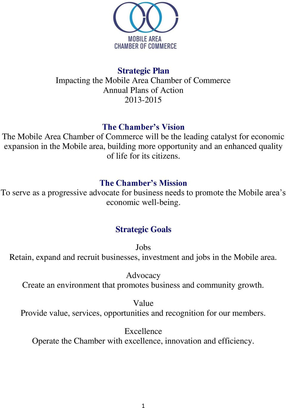 The Chamber s Mission To serve as a progressive advocate for business needs to promote the Mobile area s economic well-being.