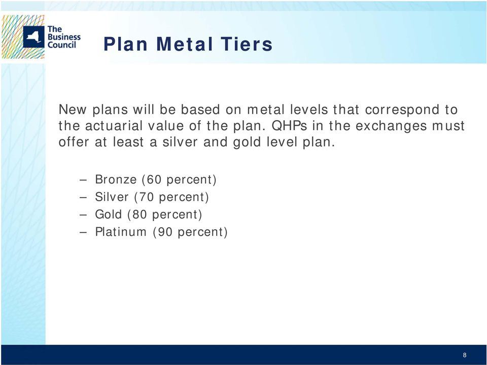 QHPs in the exchanges must offer at least a silver and gold level