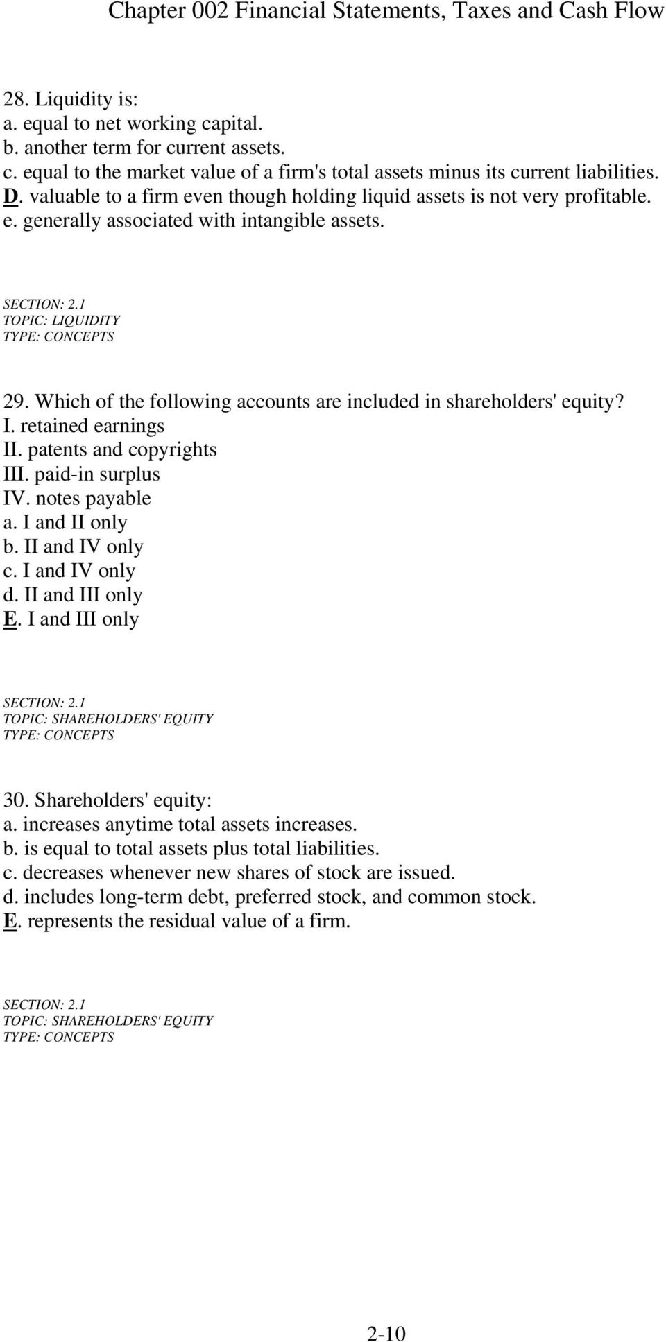 Which of the following accounts are included in shareholders' equity? I. retained earnings II. patents and copyrights III. paid-in surplus IV. notes payable a. I and II only b. II and IV only c.