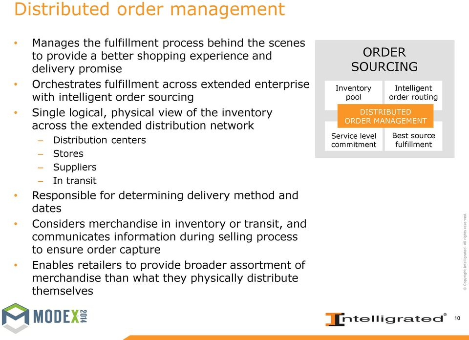 delivery method and dates Considers merchandise in inventory or transit, and communicates information during selling process to ensure order capture Enables retailers to provide broader assortment