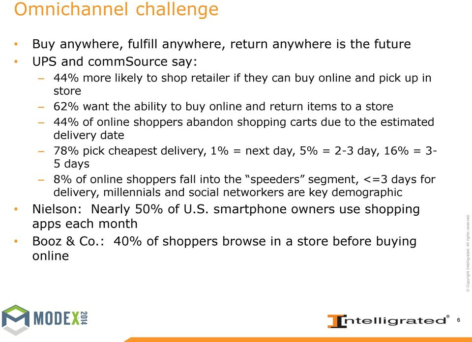 pick cheapest delivery, 1% = next day, 5% = 2-3 day, 16% = 3-5 days 8% of online shoppers fall into the speeders segment, <=3 days for delivery, millennials and social