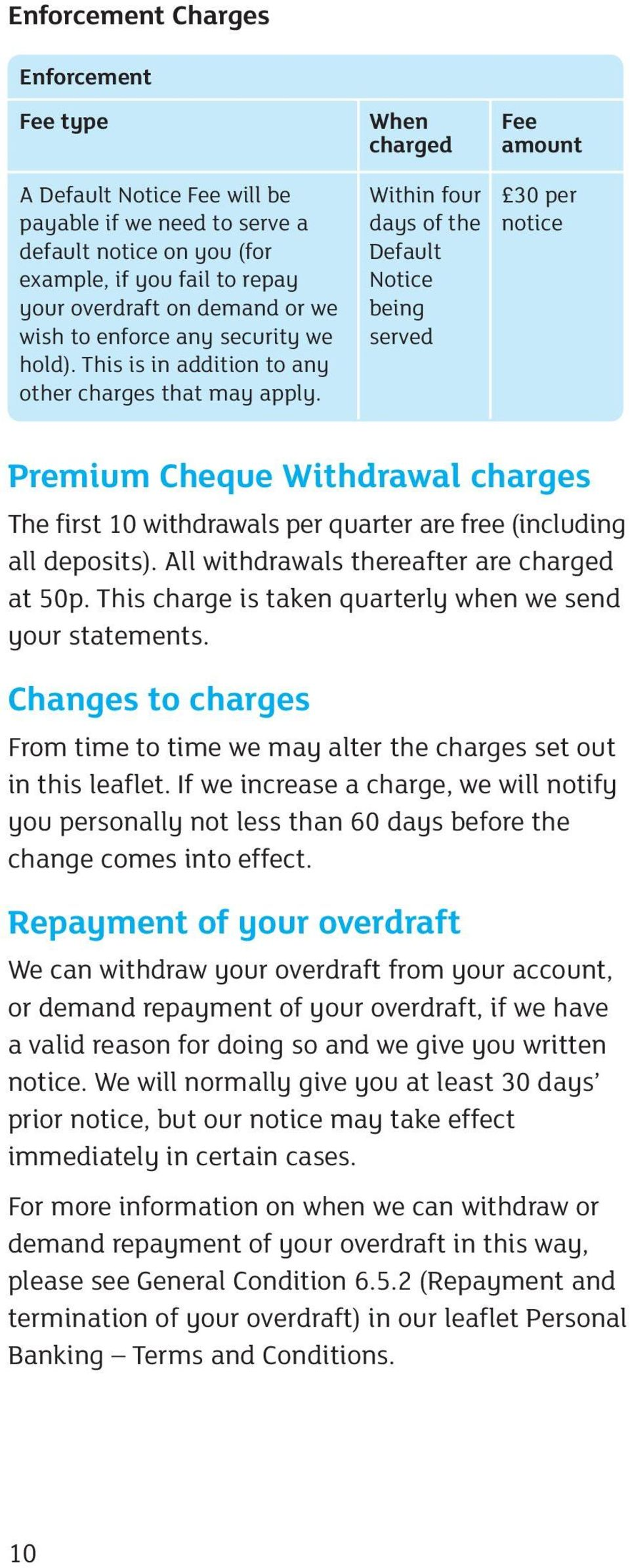 Within four days of the Default Notice being served 30 per notice Premium Cheque Withdrawal charges The first 10 withdrawals per quarter are free (including all deposits).