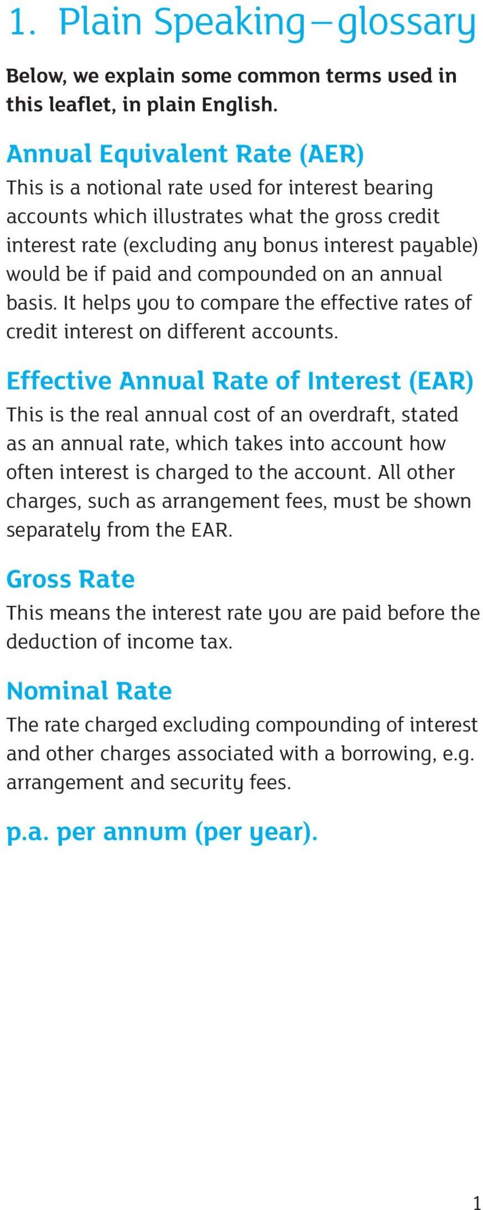 and compounded on an annual basis. It helps you to compare the effective rates of credit interest on different accounts.