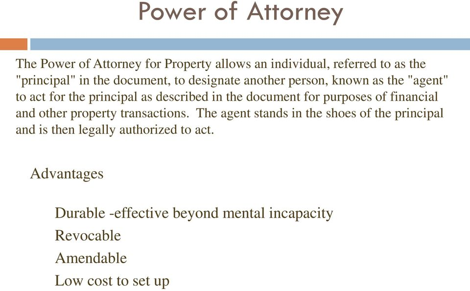 for purposes of financial and other property transactions.