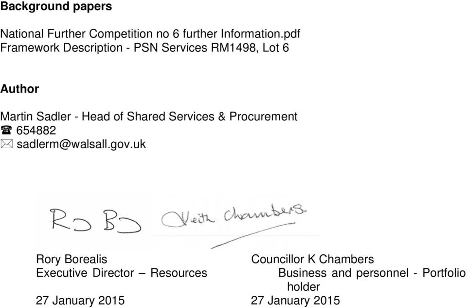 Shared Services & Procurement 654882 sadlerm@walsall.gov.
