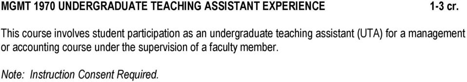 teaching assistant (UTA) for a management or accounting course
