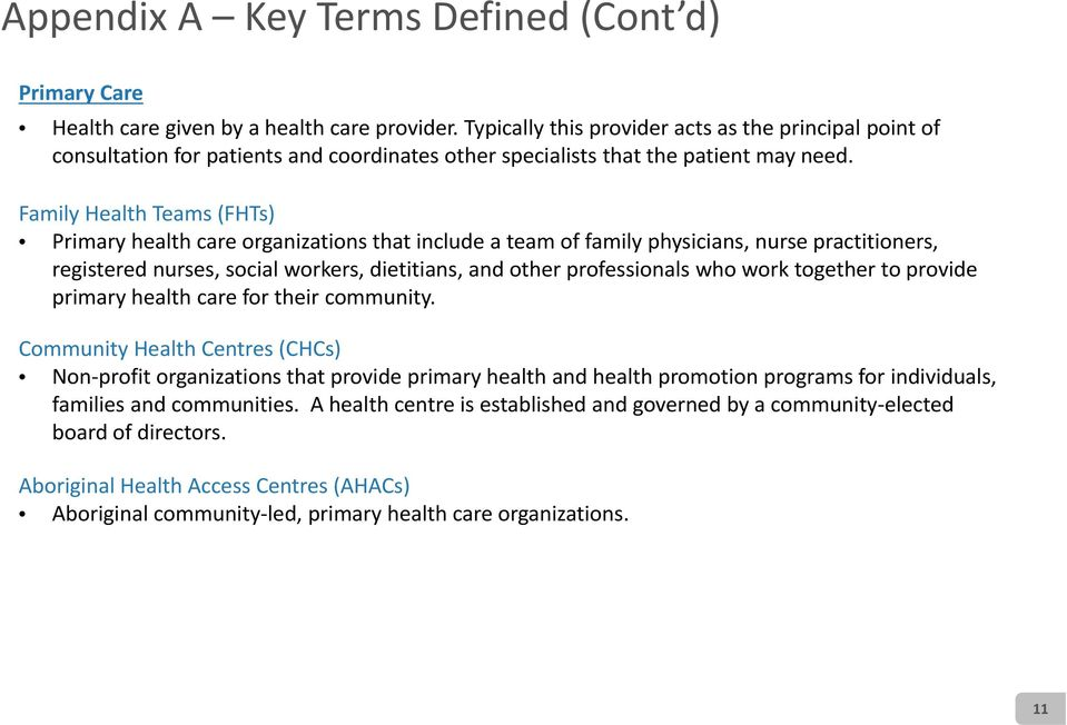 Family Health Teams (FHTs) Primary health care organizations that include a team of family physicians, nurse practitioners, registered nurses, social workers, dietitians, and other professionals who