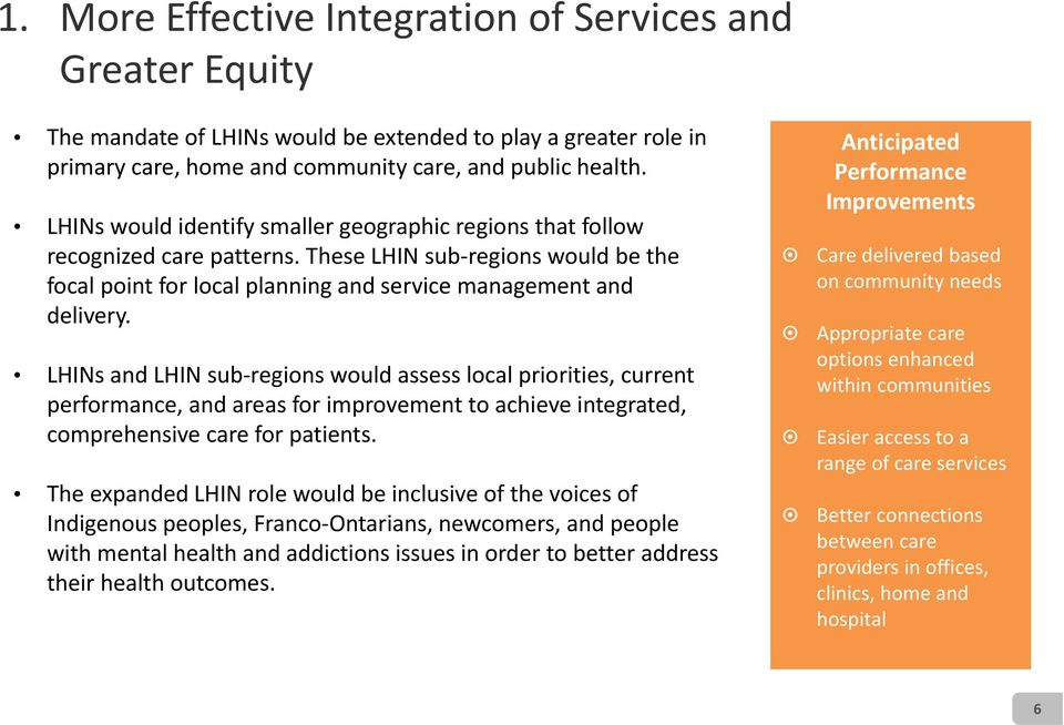 LHINs and LHIN sub regions would assess local priorities, current performance, and areas for improvement to achieve integrated, comprehensive care for patients.