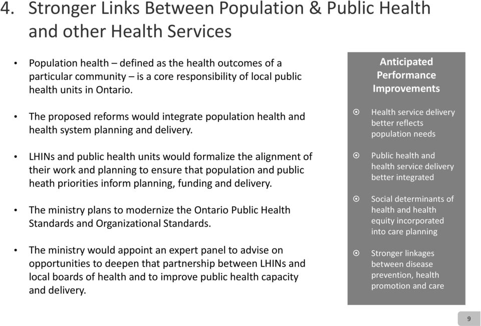 LHINs and public health units would formalize the alignment of their work and planning to ensure that population and public heath priorities inform planning, funding and delivery.