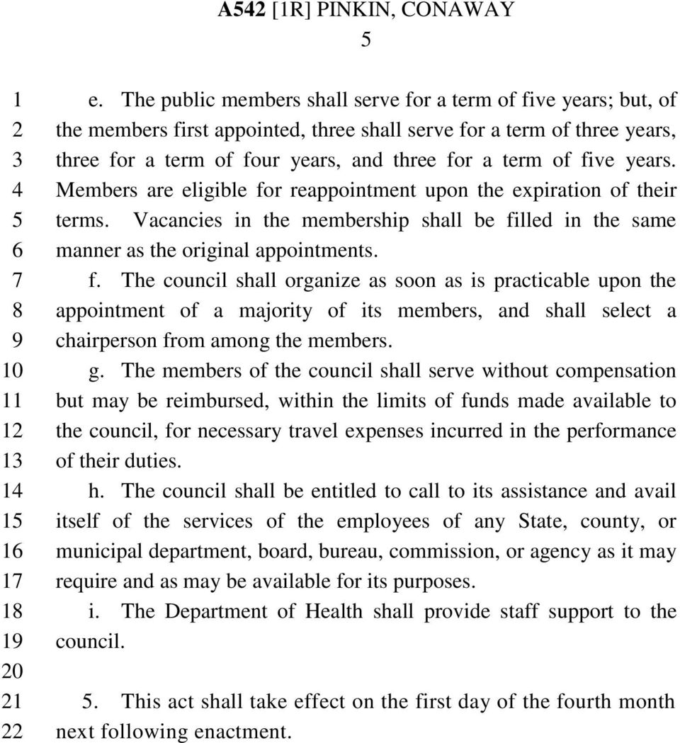 years. Members are eligible for reappointment upon the expiration of their terms. Vacancies in the membership shall be filled in the same manner as the original appointments. f. The council shall organize as soon as is practicable upon the appointment of a majority of its members, and shall select a chairperson from among the members.