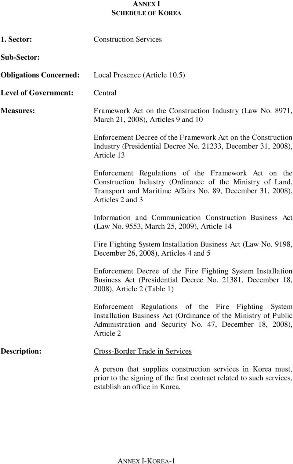 21233, December 31, 2008), Article 13 Enforcement Regulations of the Framework Act on the Construction Industry (Ordinance of the Ministry of Land, Transport and Maritime Affairs No.