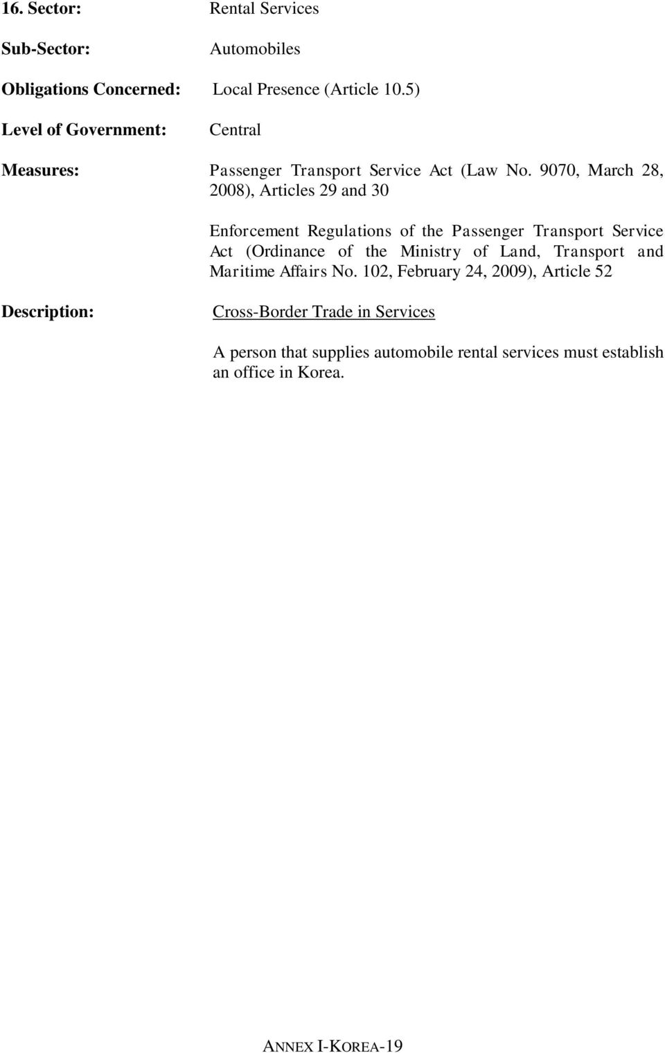 9070, March 28, 2008), Articles 29 and 30 Enforcement Regulations of the Passenger Transport Service Act (Ordinance of