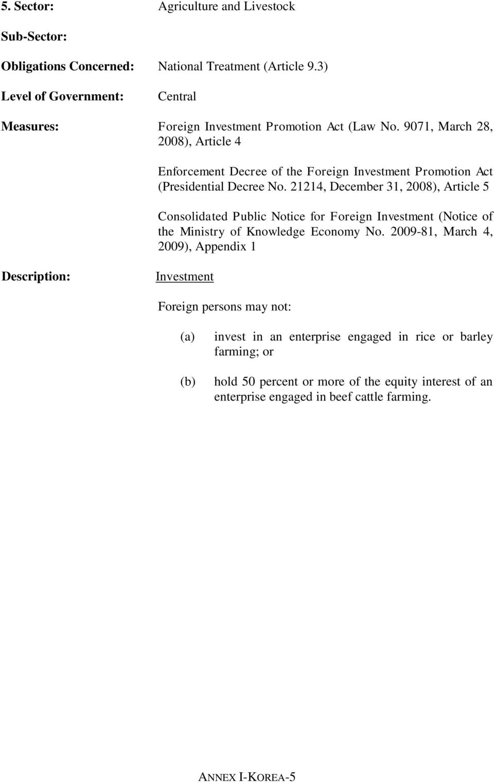 21214, December 31, 2008), Article 5 Consolidated Public Notice for Foreign Investment (Notice of the Ministry of Knowledge Economy No.