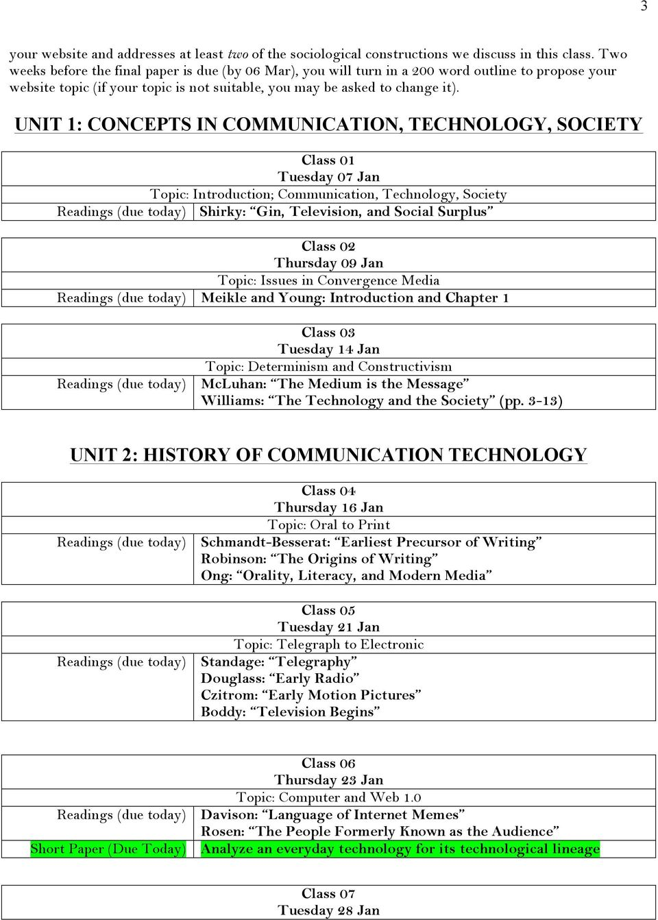UNIT 1: CONCEPTS IN COMMUNICATION, TECHNOLOGY, SOCIETY Class 01 Tuesday 07 Jan Topic: Introduction; Communication, Technology, Society Readings (due today) Shirky: Gin, Television, and Social Surplus