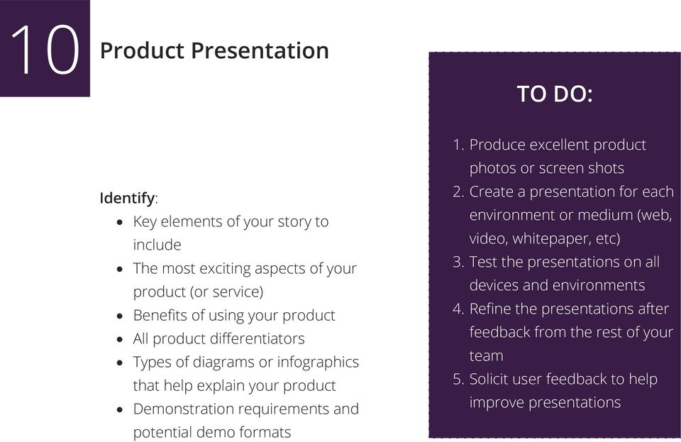 Produce excellent product photos or screen shots 2. Create a presentation for each environment or medium (web, video, whitepaper, etc) 3.