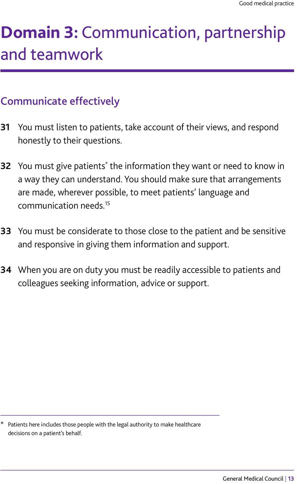 You should make sure that arrangements are made, wherever possible, to meet patients language and communication needs.