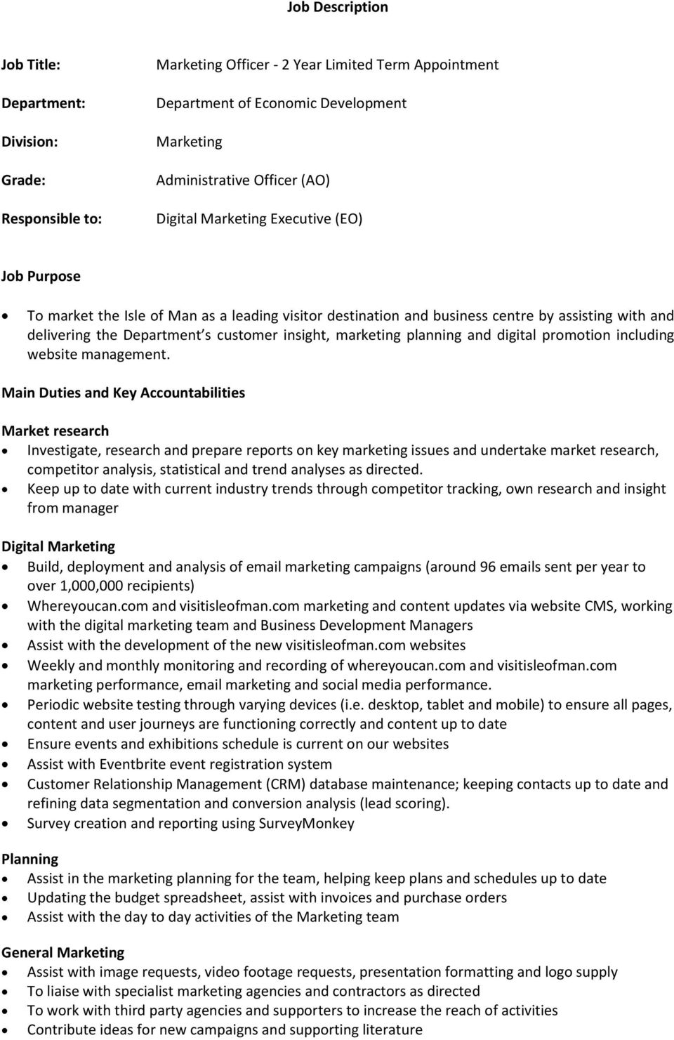 Marketing Officer Job Description | Job Description Marketing Officer 2 Year Limited Term Appointment