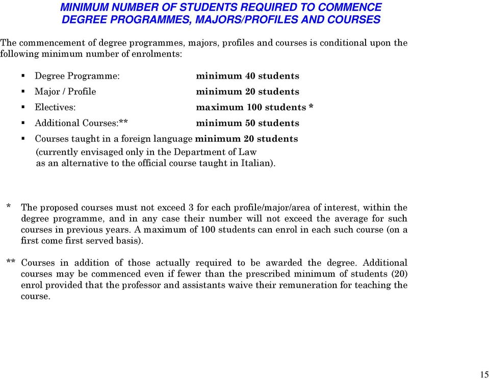 foreign language minimum 20 students (currently envisaged only in the Department of Law as an alternative to the official course taught in Italian).