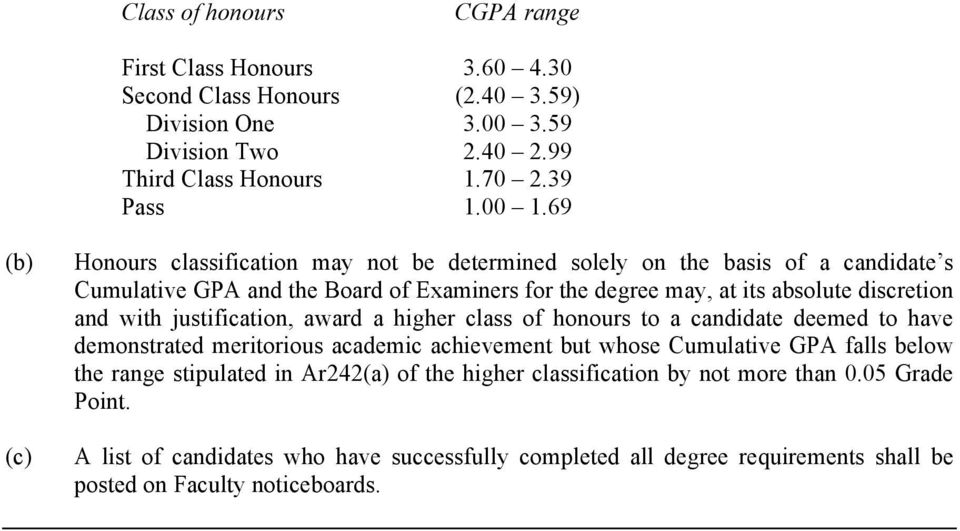 with justification, award a higher class of honours to a candidate deemed to have demonstrated meritorious academic achievement but whose Cumulative GPA falls below the range stipulated