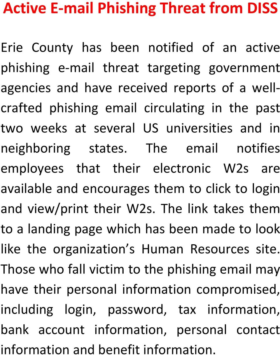 The email notifies employees that their electronic W2s are available and encourages them to click to login and view/print their W2s.