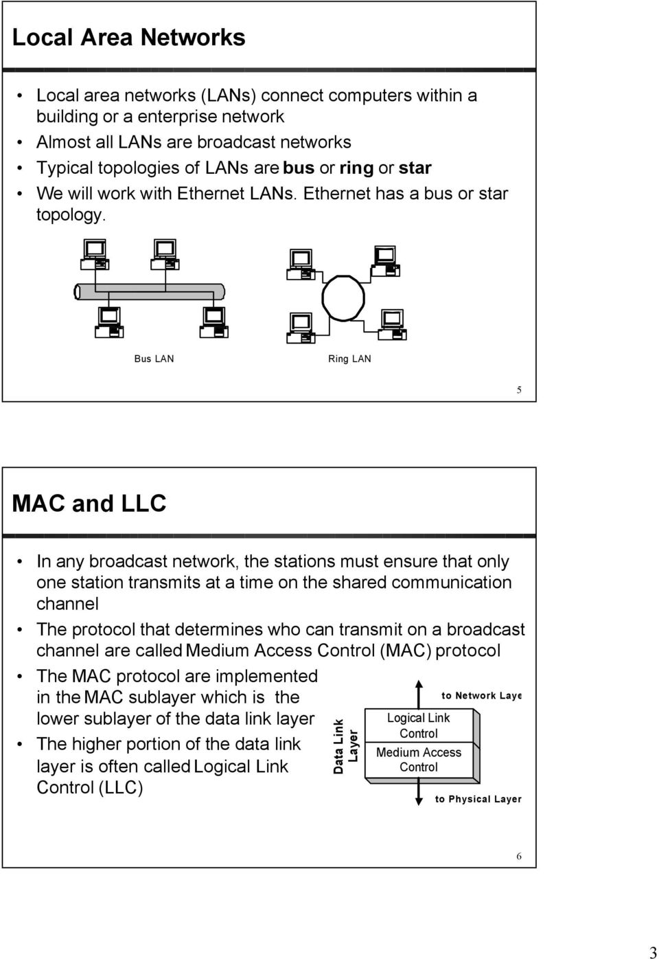 Bus LAN Ring LAN 5 MAC and LLC In any broadcast network, the stations must ensure that only one station transmits at a time on the shared communication channel The protocol that determines who can