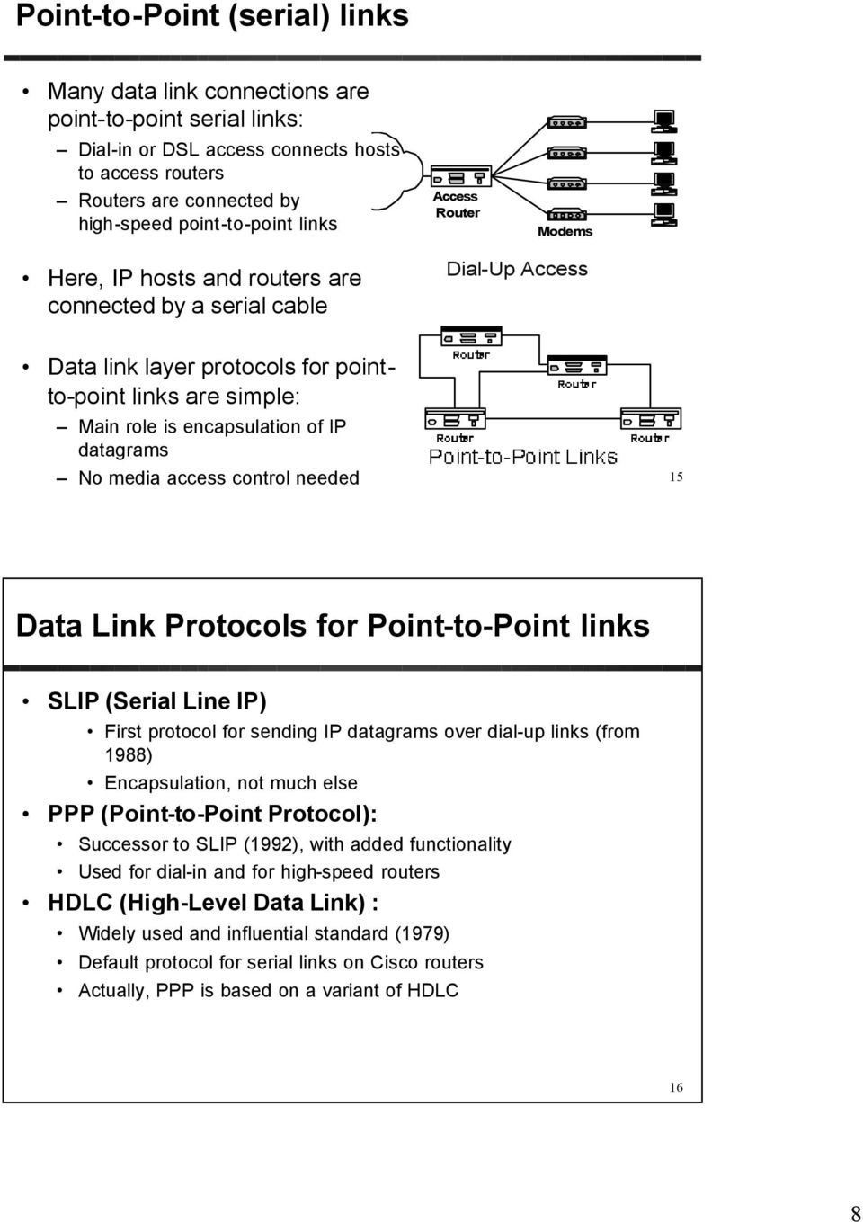 datagrams No media access control needed 15 Data Link Protocols for Point-to-Point links SLIP (Serial Line IP) First protocol for sending IP datagrams over dial-up links (from 1988) Encapsulation,