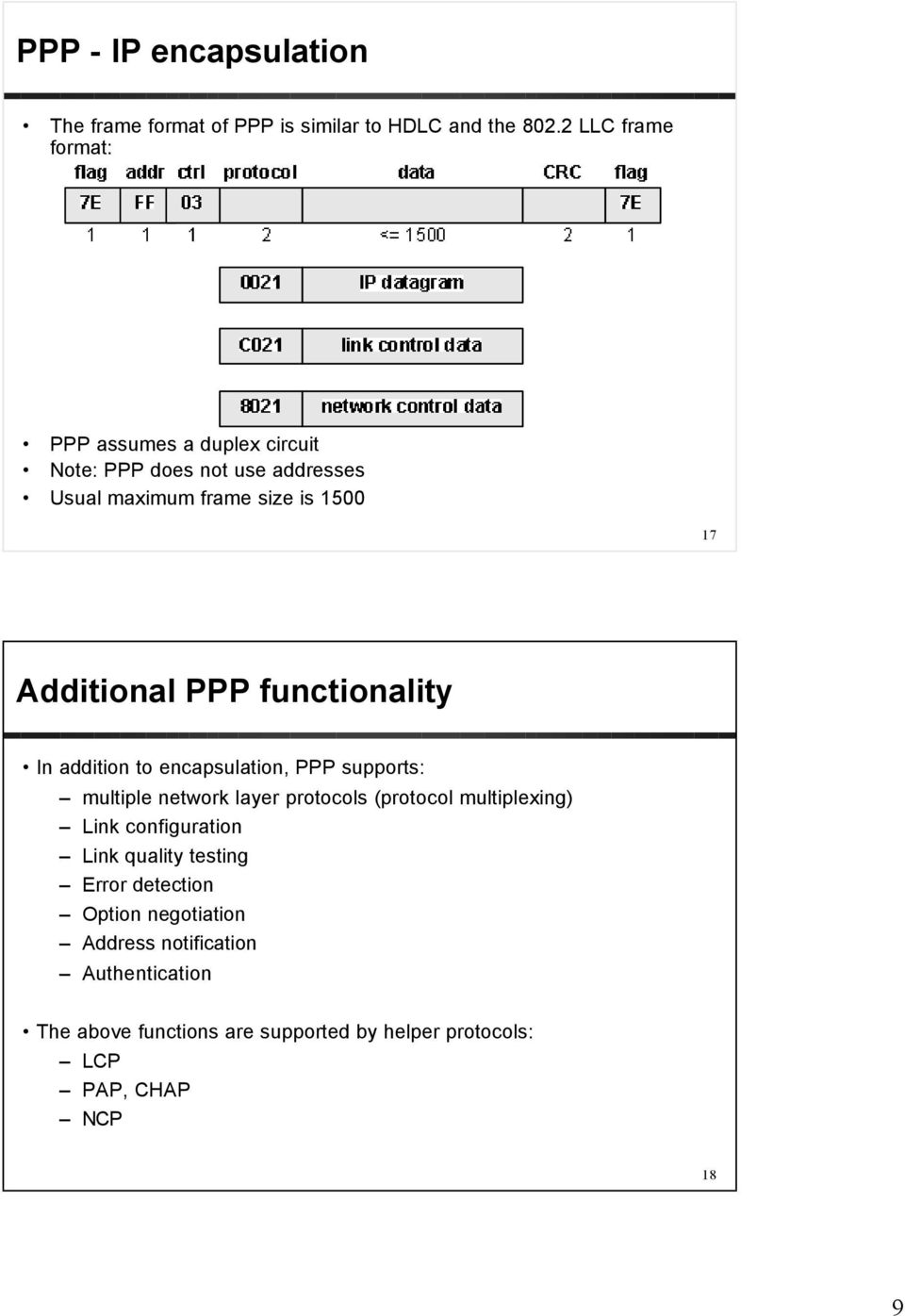 PPP functionality In addition to encapsulation, PPP supports: multiple network layer protocols (protocol multiplexing) Link