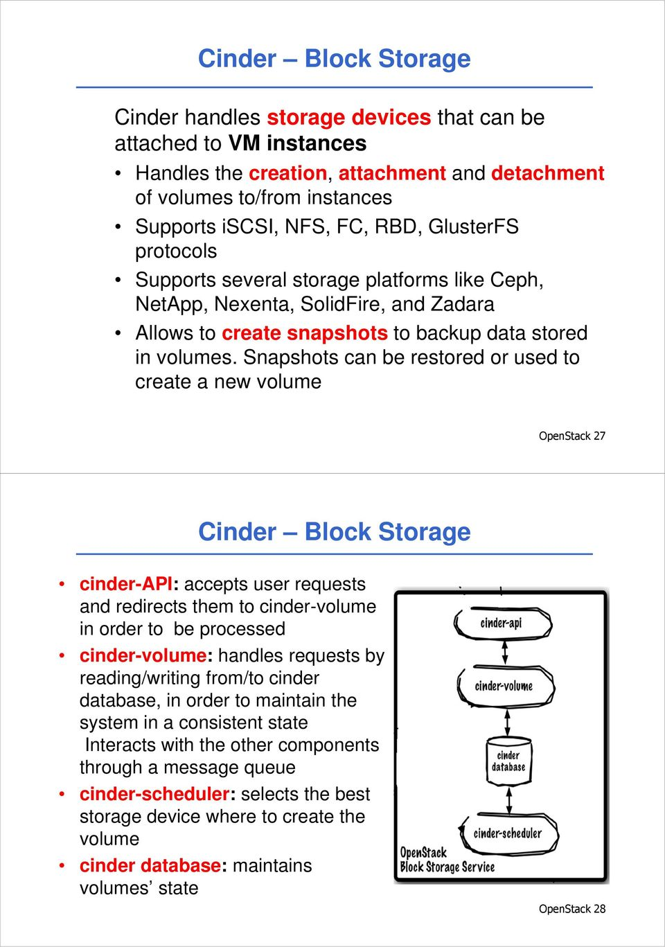 Snapshots can be restored or used to create a new volume OpenStack 27 Cinder Block Storage cinder-api: accepts user requests and redirects them to cinder-volume in order to be processed