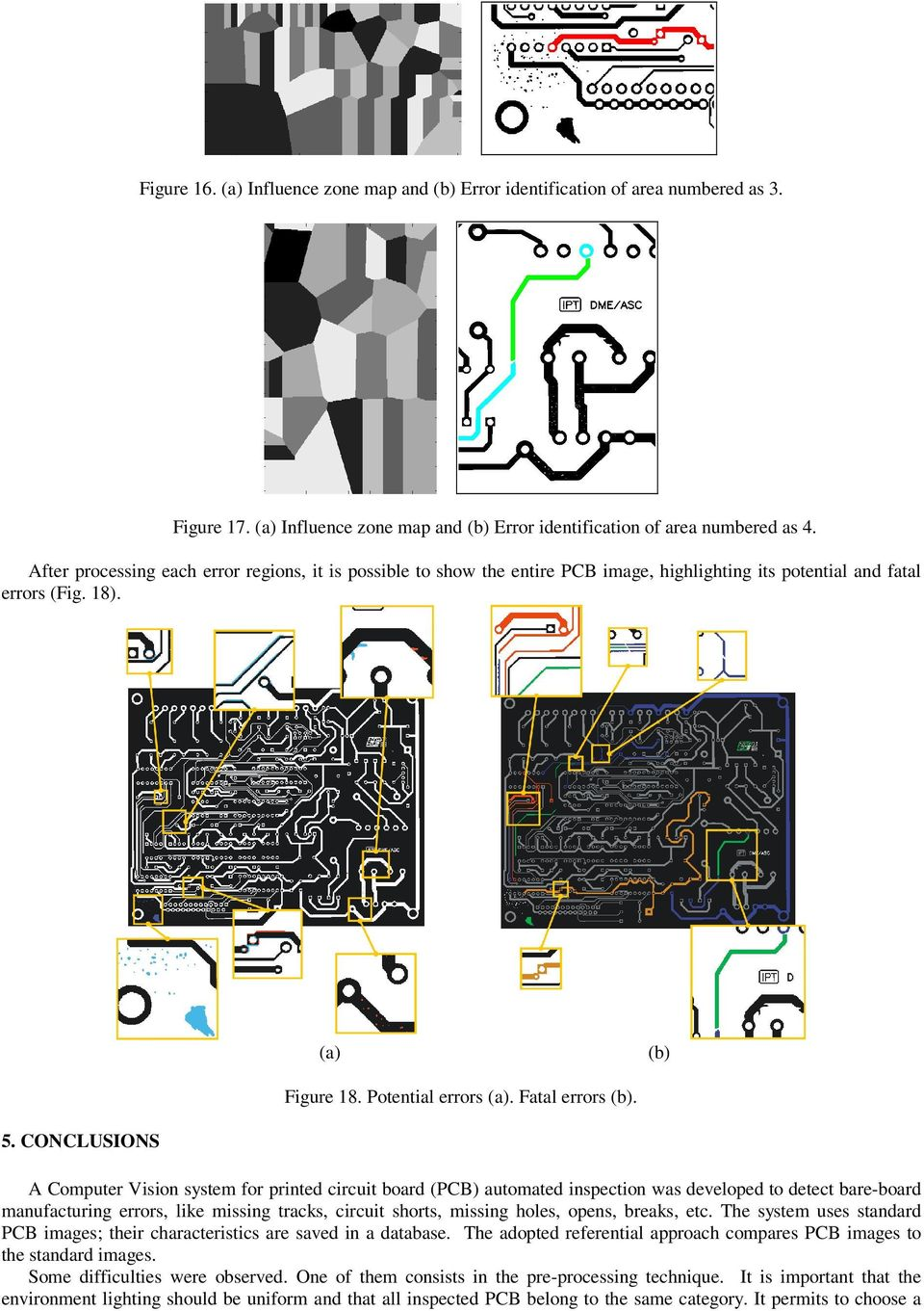 CONCLUSIONS A Computer Vision system for printed circuit board (PCB) automated inspection was developed to detect bare-board manufacturing errors, like missing tracks, circuit shorts, missing holes,