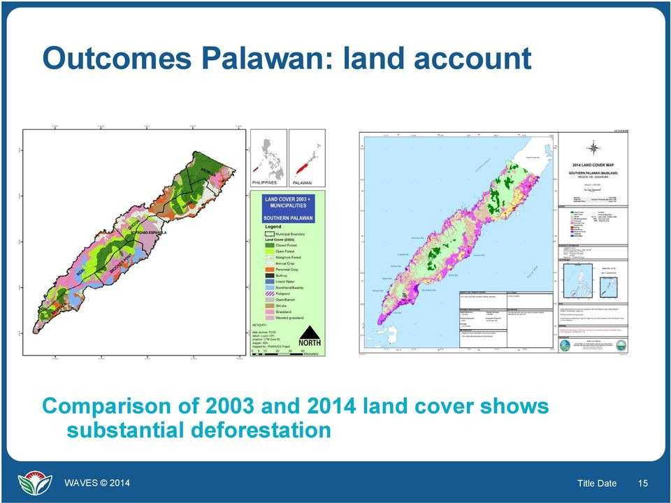 and 2014 land cover shows