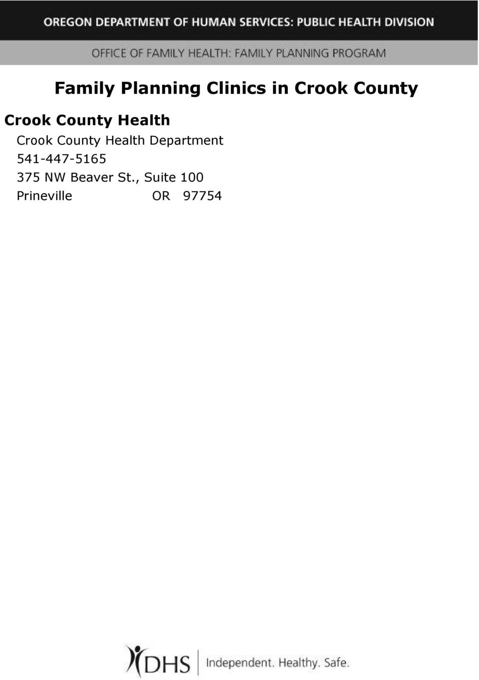 County Health Department 541-447-5165