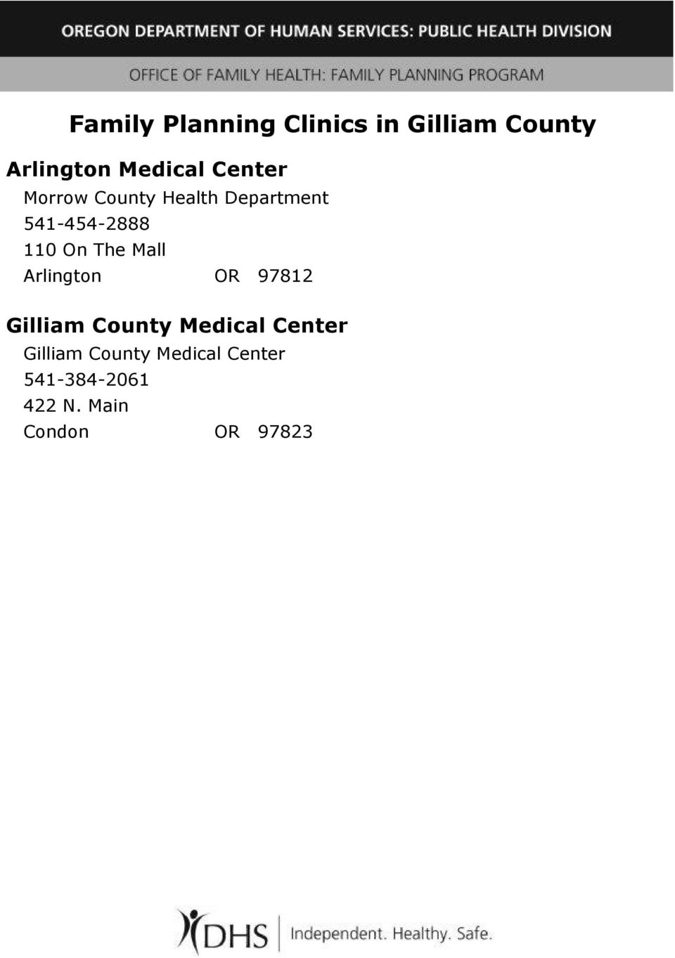 The Mall Arlington OR 97812 Gilliam County Medical Center