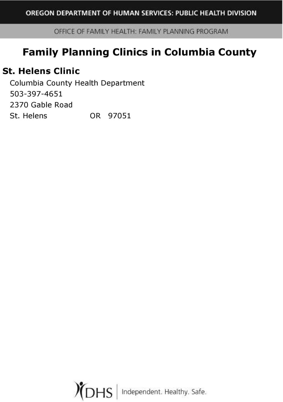 Helens Clinic Columbia County